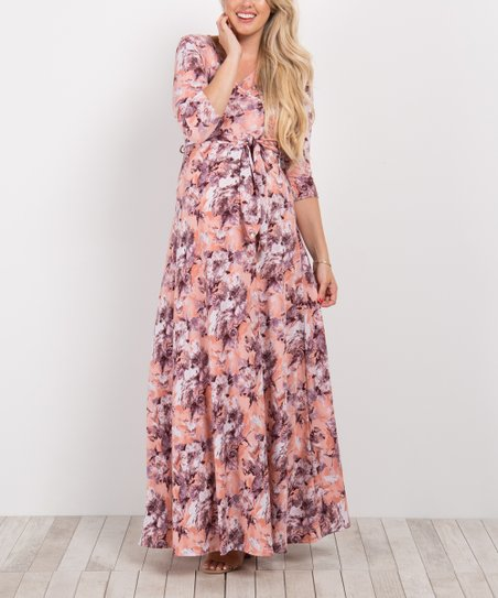 5f045261bec PinkBlush Maternity Peach Floral Maternity Nursing Maxi Dress