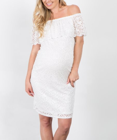 9a61d9933831 PinkBlush Maternity White Lace Fitted Maternity Off-Shoulder Dress ...
