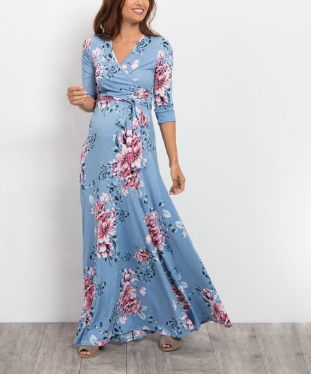 d3690d98381 PinkBlush Maternity Blue Floral Sash-Tie Maternity Maxi Dress