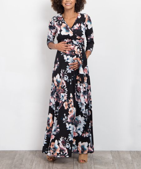9740b6facae PinkBlush Maternity Black Floral Sash-Tie Maternity Maxi Dress