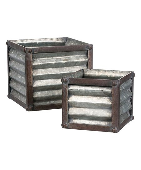 Ribbed Sheet Metal Square Planters Set Of Two Zulily