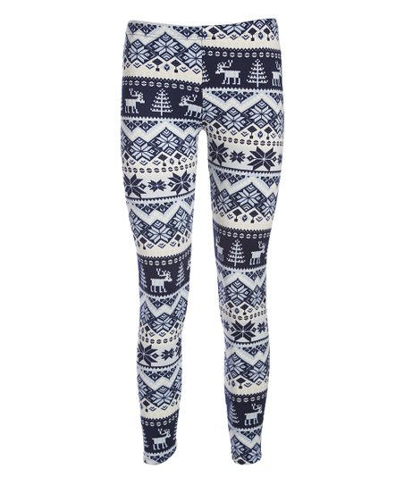 bdae63dbf36e7 love this product Blue & Black Snowflake Stripe Fleece-Lined Leggings
