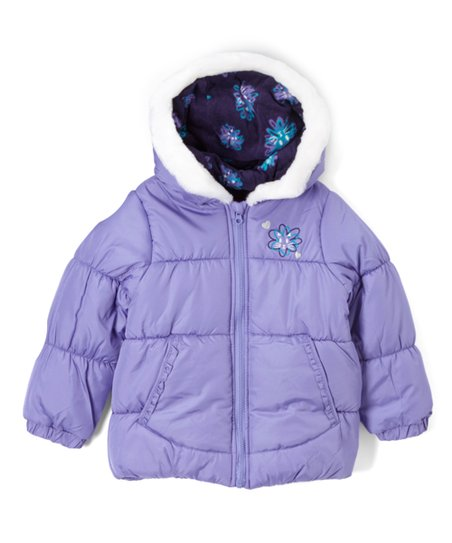 dc4af39b1 London Fog Purple Puffer Coat & Scarf - Infant, Toddler & Girls   Zulily
