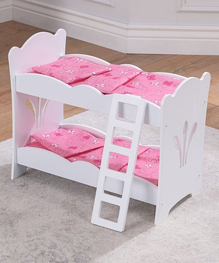 Kidkraft White Pink Bunk Bed For 18 Doll Zulily