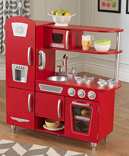 Red Vintage Play Kitchen Set