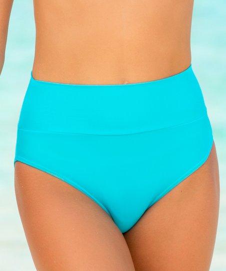 109eb678be HAPARI Turquoise Tummy Tuk High-Waist Bikini Bottoms - Women & Plus