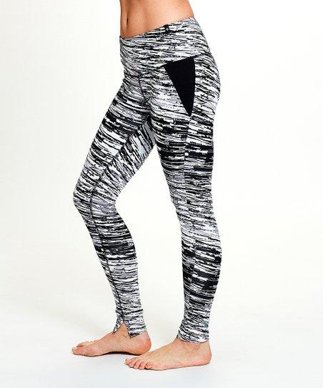 e56014f8d9 SATVA Black & White Scratch Mantra Organic Cotton-Blend Leggings ...