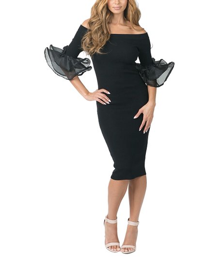 477c43bb654 CQbyCQ Black Ruffle-Sleeve Off-Shoulder Dress