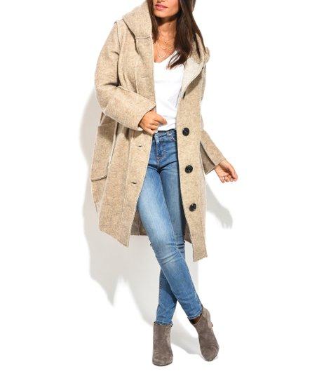 Maille Girl Beige Hooded Pocket-Accent Wool-Blend Jacket - Women