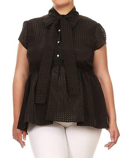 fe81413ea32 EiEN APPAREL Black Tie-Neck Peplum Short-Sleeve Top - Plus | Zulily