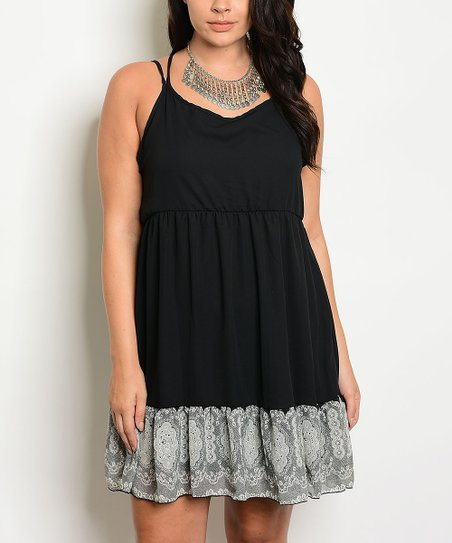 Black Cream Lace Strappy Back Tank Dress Plus Zulily
