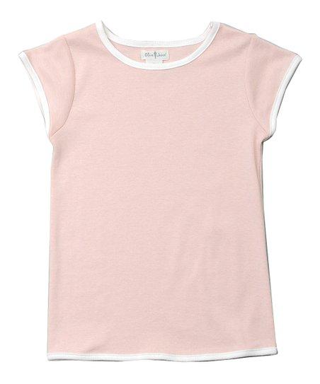 Olive Juice Petal Pink & White Ringer Tee - Girls