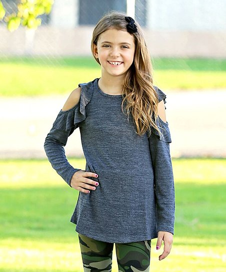66d191ade79 Mayah Kay Fashion Boutique Heather Black Shoulder-Cutout Long-Sleeve Tunic  - Toddler