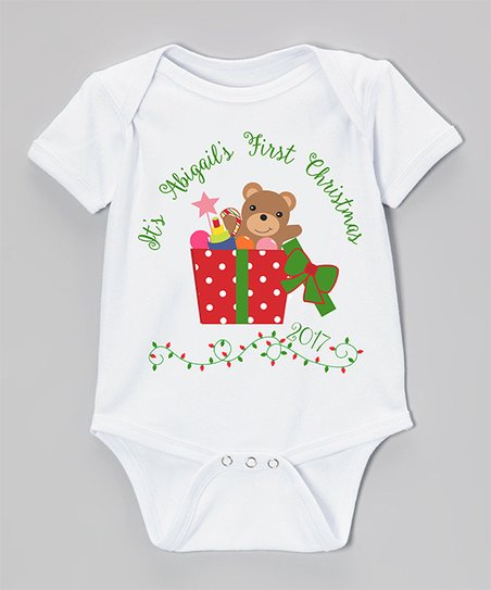 81455b59181 love this product White Teddy Bear Christmas Personalized Bodysuit - Infant