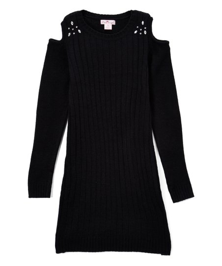 646ae271e1 Pink Angel Black Embellished Cold-Shoulder Sweater Dress - Girls ...