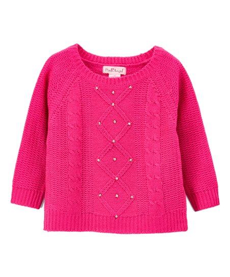 6ce3c52c874 love this product Fuchsia Diamond Cable-Knit Sweater - Toddler   Girls