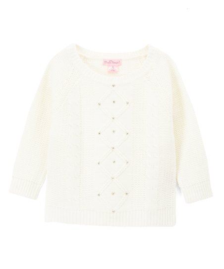 63d90e568b1965 love this product Off-White Diamond Cable-Knit Sweater - Girls