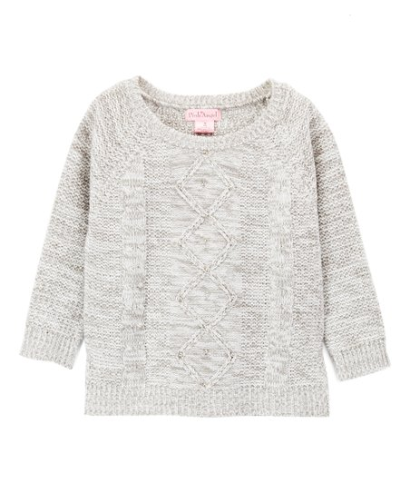 797d1a2f9dcc3c Pink Angel Gray Twist Diamond Cable-Knit Sweater