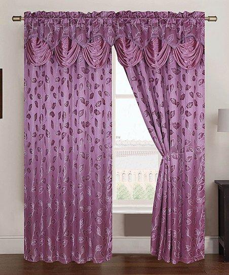 Eggplant Brenda Jacquard Curtain Panel