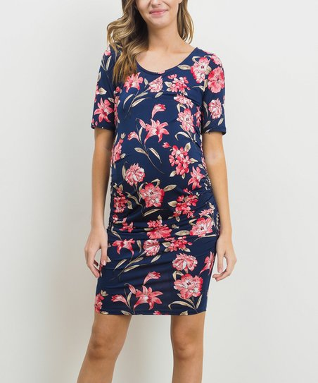 8e0aa70288a Hello Miz Maternity Navy   Coral Floral Ruched Maternity Dress