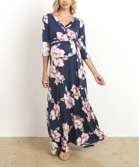 6b3cf9b201fa4 love this product Navy & Pink Floral Surplice-Top Maternity/Nursing Maxi  Dress