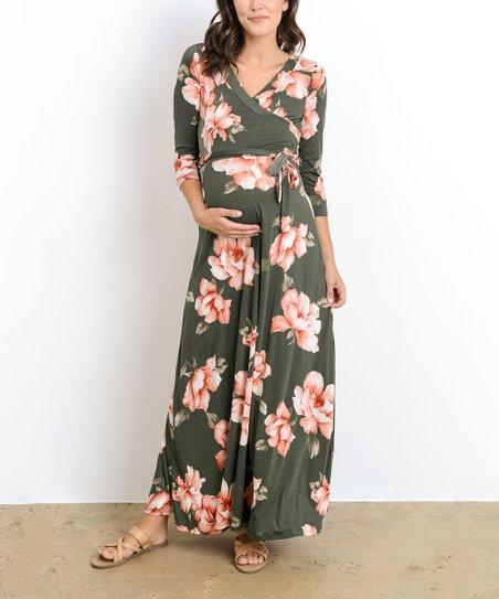 cae5e32f65f Hello Miz Maternity Olive Floral Surplice-Top Maternity Nursing Maxi ...