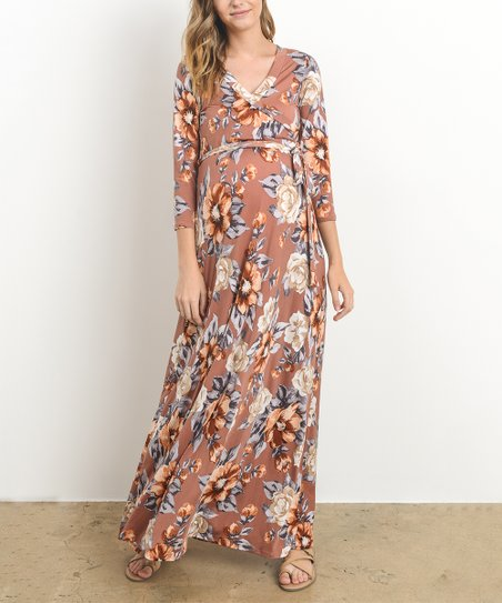 49b7fdd1907 Hello Miz Maternity Rust Floral Surplice-Top Maternity Nursing Maxi ...