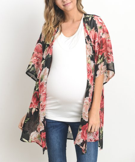 90ab33a1416 Hello Miz Maternity Black Floral Elbow-Sleeve Maternity Kimono