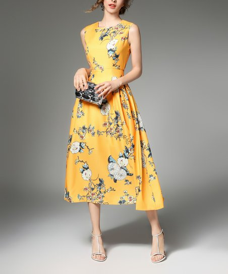 03bb144306e love this product Yellow   White Floral Fit   Flare Midi Dress