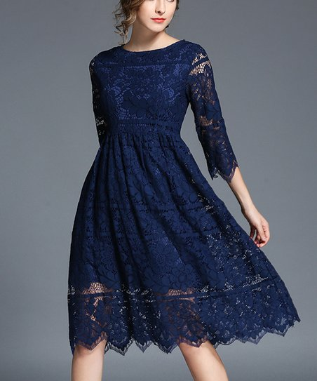 5efbaab09506 Coeur de Vague Navy Blue Lace Midi Dress - Women | Zulily