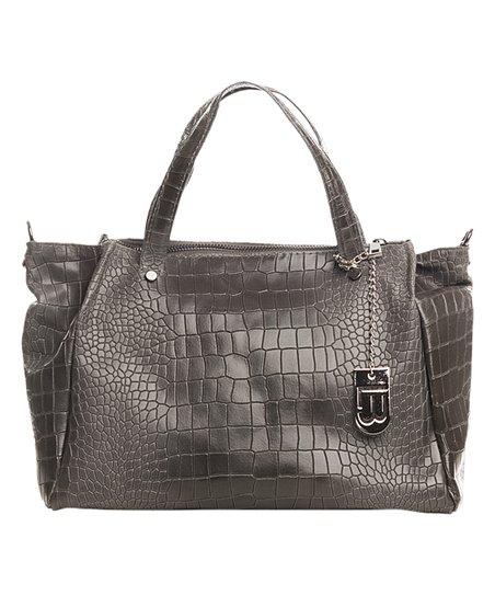 f5b31ffea Lucca Baldi Dark Gray Croc-Embossed Leather Hobo | Zulily