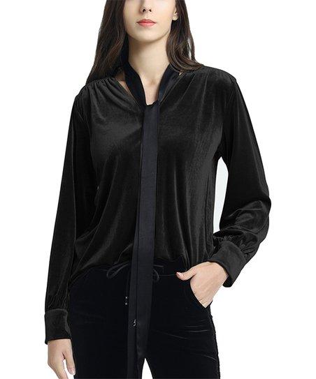 8e0dda779a6 love this product Black Tie-Neck Velvet Long-Sleeve Top - Women & Plus
