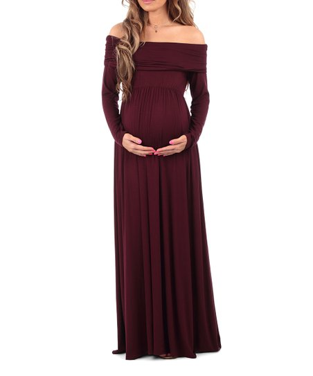 0d1f33efebbe Mother Bee Maternity Wine Maternity Off-Shoulder Dress