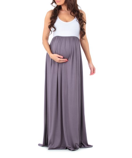 2df7c2c960503 love this product Vintage Purple & White Sleeveless Maternity Maxi Dress