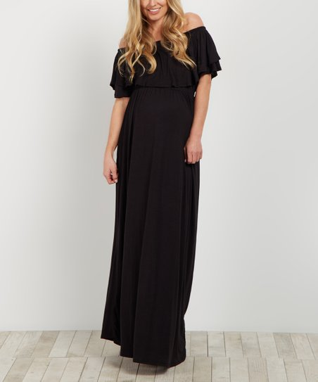 bedfe7e886949 love this product PinkBlush Black Flounce Maternity Off-Shoulder Maxi Dress