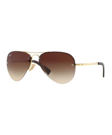 9a043ac4e7 Ray-Ban Gold   Brown Rimless Aviator Sunglasses - Unisex