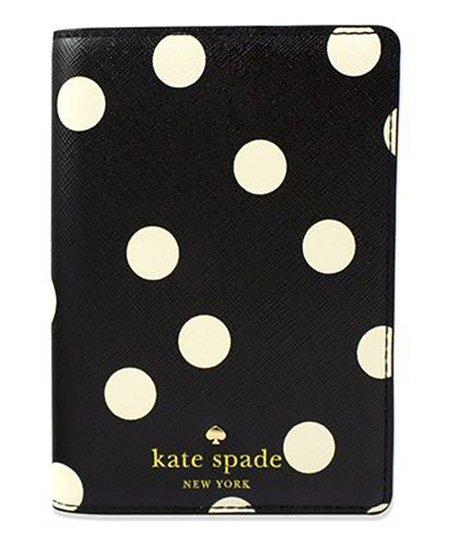 c30dd7224219 Kate Spade Black & Cream Cedar Street Dot Passport Holder | Zulily