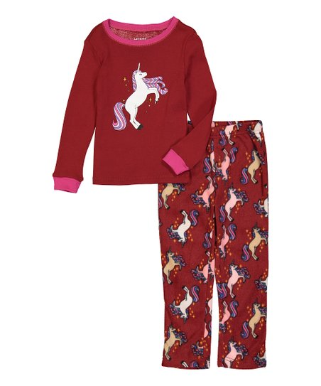 Leveret Burgundy Unicorn Fleece Pajama Set - Toddler   Girls  a70e4ce7f