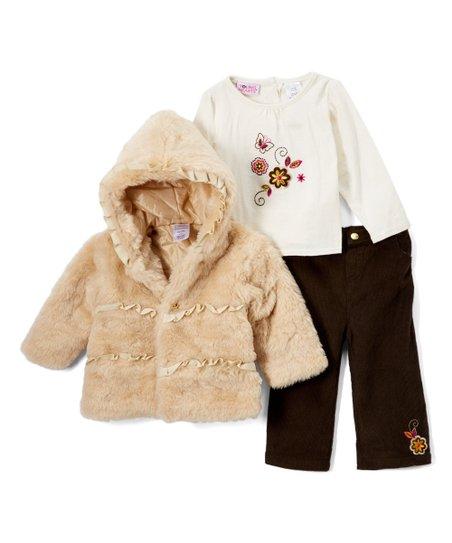 24892f7b7 Nannette Baby Chestnut   White Faux Fur Hooded Jacket Set - Infant ...