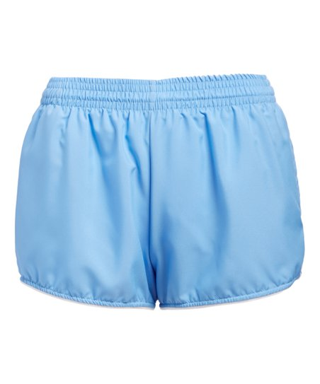 874e19dd09ed The Cotton Exchange Light Blue Pocket Running Shorts - Women