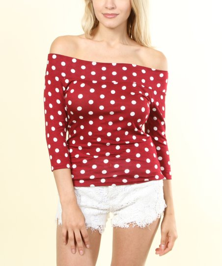 7ad97c3d31d SOB Clothing Red & White Polka Dot Off-Shoulder Top | Zulily