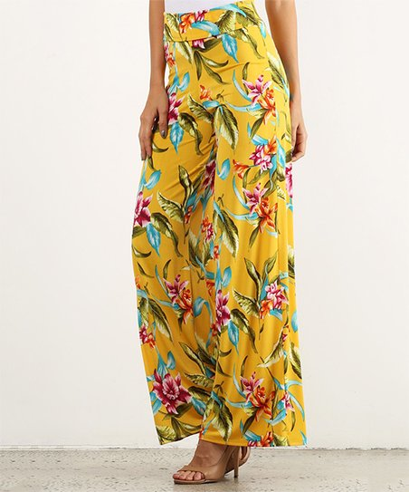 43feb87a017f Pretty Young Thing Mustard Floral High-Waist Palazzo Pants - Women ...