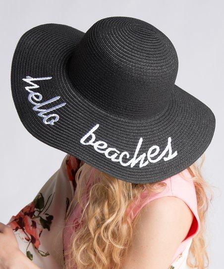 Fashionomics Black Hello Beaches Sun Hat  1d3b9762a52