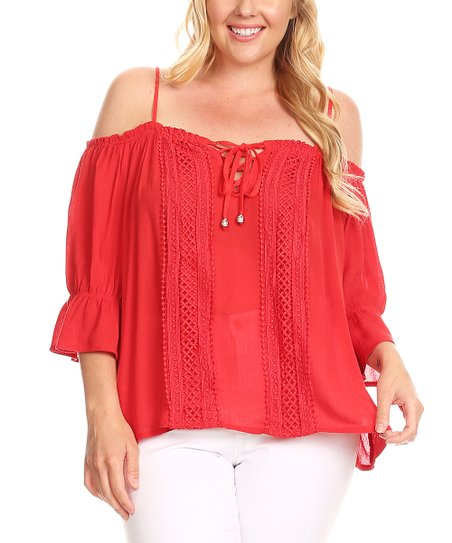 dccacc8fd306c6 love this product Red Tie-Front Off-Shoulder Top - Plus