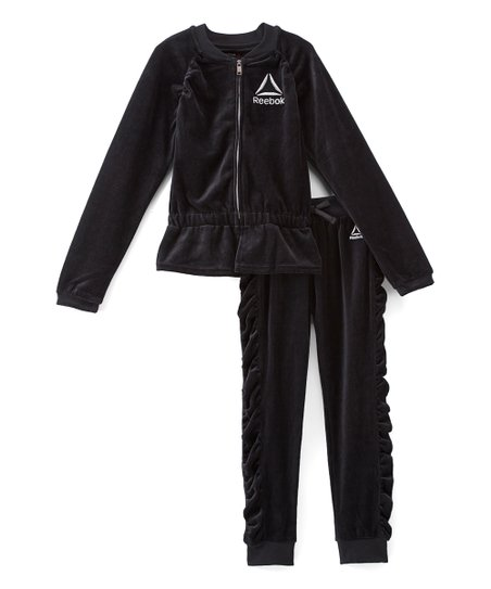 1a2fcd48213 love this product Black Velvet Ruffle-Accent Jacket & Pants - Girls