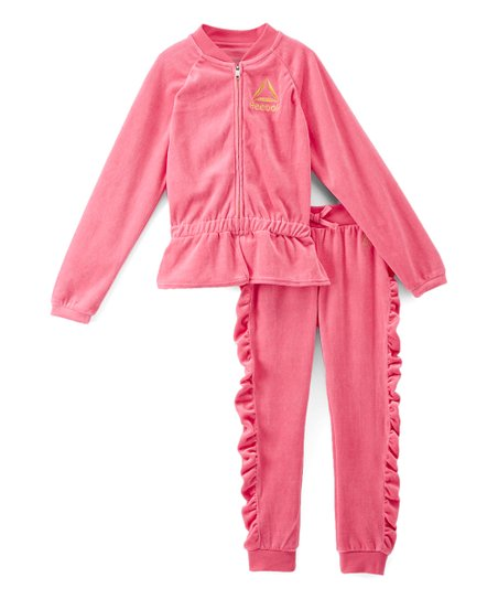 7a57747a6bd love this product Pink Velvet Ruffle-Accent Jacket & Pants - Toddler & Girls