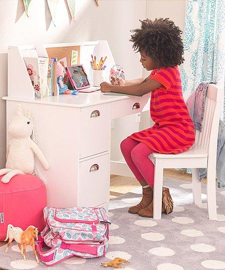 Stupendous Kidkraft White Three Piece Study Desk Chair Set Cjindustries Chair Design For Home Cjindustriesco