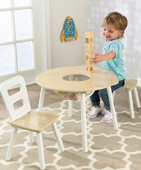 love this product White   Natural Round Three-Piece Table Set ffe59c6740