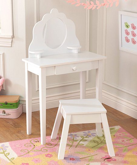 Wondrous Kidkraft White Vanity Stool Set Caraccident5 Cool Chair Designs And Ideas Caraccident5Info
