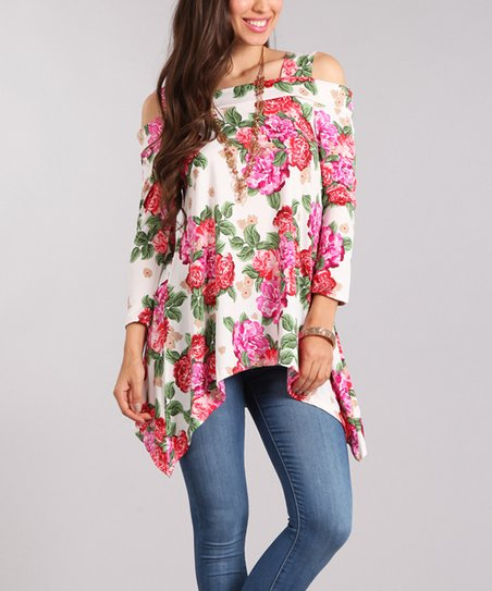 fd5c70e62f311d love this product White   Pink Floral Open-Shoulder Sidetail Top - Women